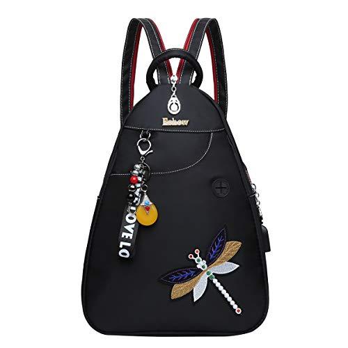 Eshow Damen Handtasche klein für Damen Mädchen Teenager schwarz mit Fächern und Libelle-Muster zum Alltag Reise Schule