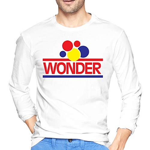 NicholasAnthonye Wonder Bread Logo Men Lightweight Cotton Long Sleeve T-Shirts Casual Tee White XL