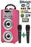 Dynasonic - Enceinte Bluetooth Portable karaoké 10W, 2 micros Inclus, Radio FM, Lecteur USB/SD - Modèle 025, Couleur Rose