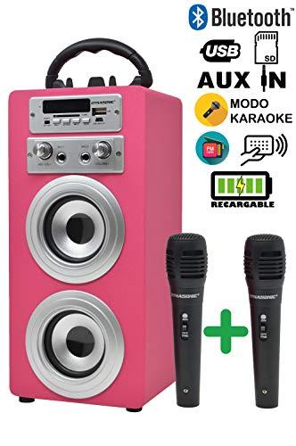 DYNASONIC Bluetooth luidspreker met karaoke 2 microfoons radio en USB-SD-kaartlezer (roze)
