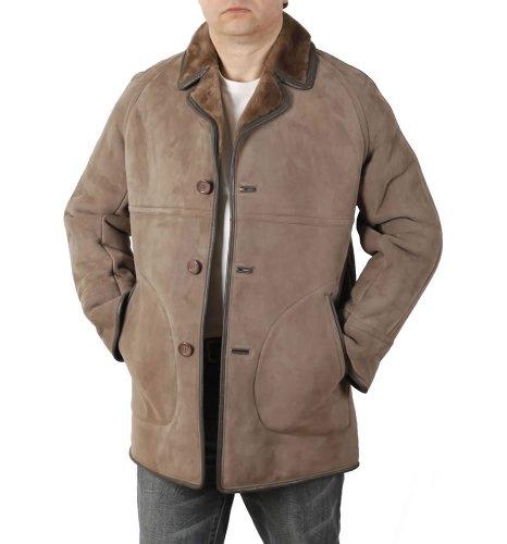 Simons Leather Manteau Classique Homme en Peau de Mouton Couleur Taupe - Taille L