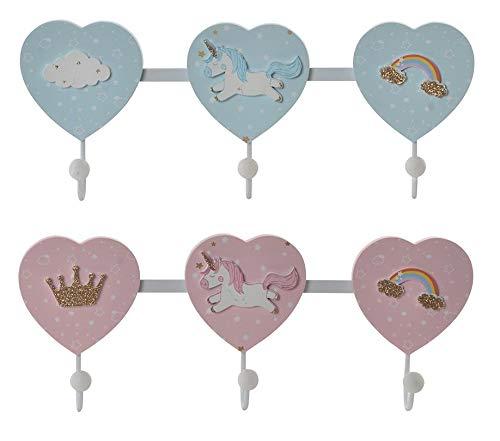 Original Perchero de Corazones y Unicornio Madera 41X5,5X18cm para pared habitación infantil o bebé con 3 colgadores en rosa/azul (Rosa)