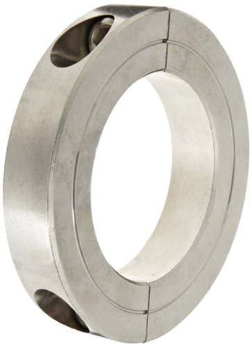 "Climax Metal H2C-500-S T303 Recessed Screw Clamping Collar, Two Piece, Stainless Steel, 5"" Bore Size, 6-1/4"" OD, With 3/8-24 x 1 1/4 Set Screw"