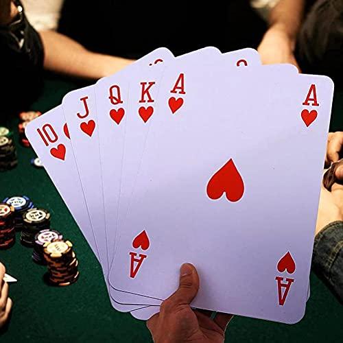 Lot de 54 cartes à jouer géantes - 12 x 17 cm - Très grandes cartes de poker géantes - Pour divertir la table - Jeu de famille - Intérieur ou extérieur - Jardin - Barbecue de Noël