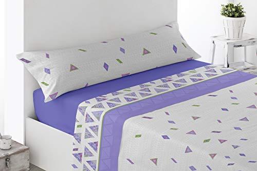 Juego de sábanas Estampadas de Microfibra Transpirable Mod. Talpe (Disponible en Varios tamaños y Colores) (Malva, Cama de 135 cm (135_x_190/200 cm))
