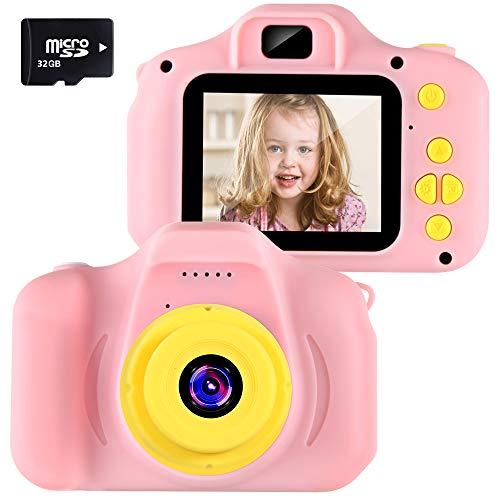 Cámara para Niños Infantil Cámara de Fotos Digital Cámara Juguete para Niños 2 Pulgadas 12MP 1080P HD Selfie Video Cámara Regalos Ideales para Niños Niñas de 3-10 Años con Tarjeta TF 32 GB