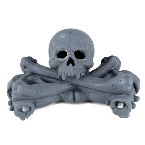 Stanbroil Imitated Human Skulls and Bones Gas Log for Indoor or Outdoor Fireplaces, Fire Pits, Halloween Decor, 1-Pack, Gray - Patent Pending
