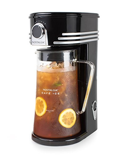 Nostalgia Iced Coffee Maker and Tea Brewing System, Glass Pitcher, 3 quart, Black