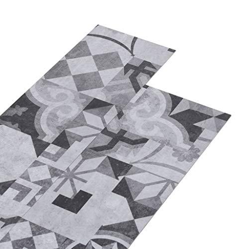 vidaXL PVC Laminat Dielen Vinylboden Vinyl Boden Planken Bodenbelag Fußboden Designboden Dielenboden 4,46m² 3mm Selbstklebend Grau Muster
