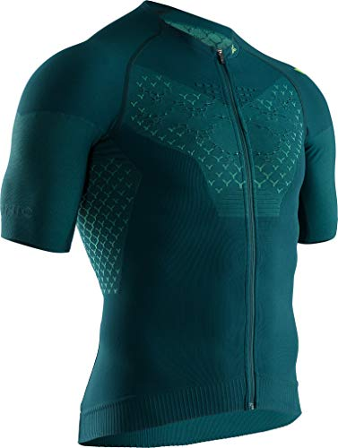 X-Bionic Twyce 4.0 Bike Zip Chemise Homme, Pine Green/Amazonas Green, FR : S (Taille Fabricant : S)