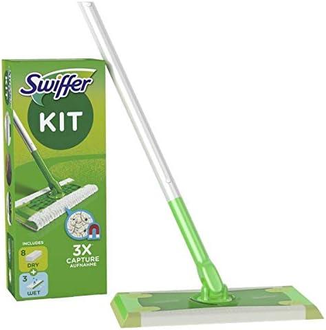 Swiffer Kit Complet Balai + 8 Lingettes Sèches + 3 Lingettes Humides,