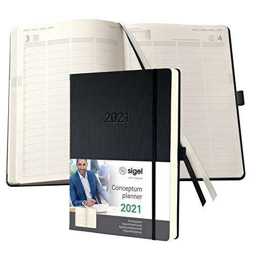 SIGEL C2104 Planningsboek, agenda 2021, A4+, voor 4 persEén maatn, zwart