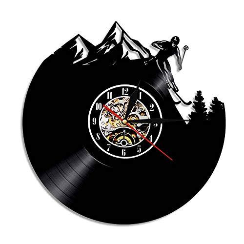 WADCRmgyx Persönlichkeit Skifahren Schallplatte Wanduhr Modernes Zuhause Dekorative Stempeluhr Sport Einzigartige Geschenke