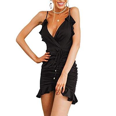 W-Fight Womens Spaghetti Strap Sexy Deep V-Neck Backless Mini Slim Dress Clubwear