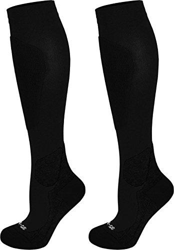 normani 2 oder 4 Paar Coolmax Sportsocken/Kompressionsstrümpfe mit Frotteesohle und anatomisch angeordneten Polsterzonen Farbe Sport/Schwarz 2 Paar Größe 43/46