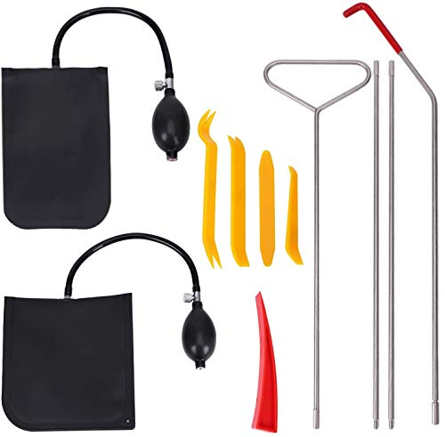 Long Reach Tools 11PCS Car Tool Kit with Air Wedge Air Pump Bag and Non Marring Wedge in a PVC Packing Bag