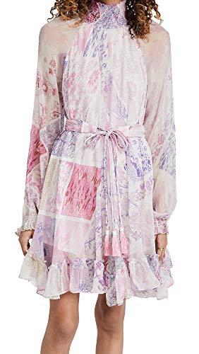 Hemant and Nandita Women's Chiffon Tunic, Lilac, Purple, Print, Medium