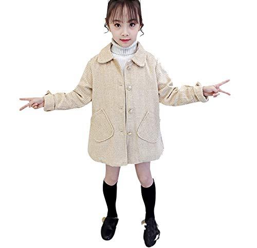 Mode Pied-De-Poule Pour Enfants, YUYOUG Manteau Occasionnel à Carreaux à Manches Longues Bébé Hiver Mode BéBé Filles Manteau En Laine Style (8-14 Ans)