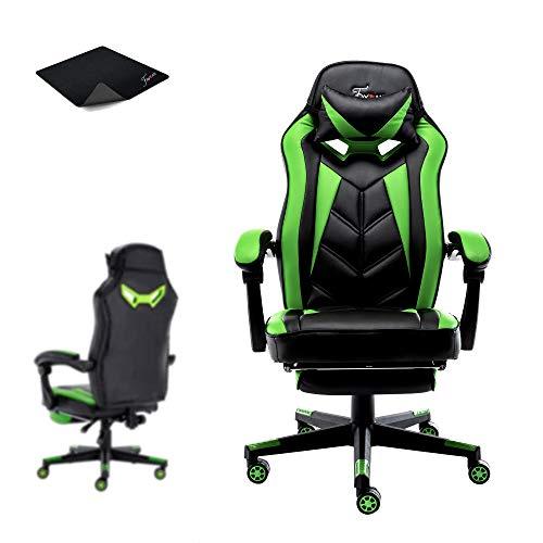 FAYEAN Ergonomic Racing Gaming Chair Swivel PU Leather Home Desk Chair 06 (Green)