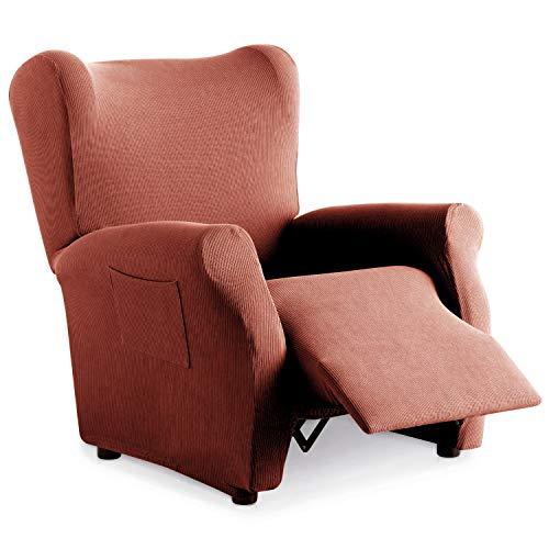 Eiffel Textile Funda Sillon Elastica Protector Adaptable Rústica Relax, Naranja