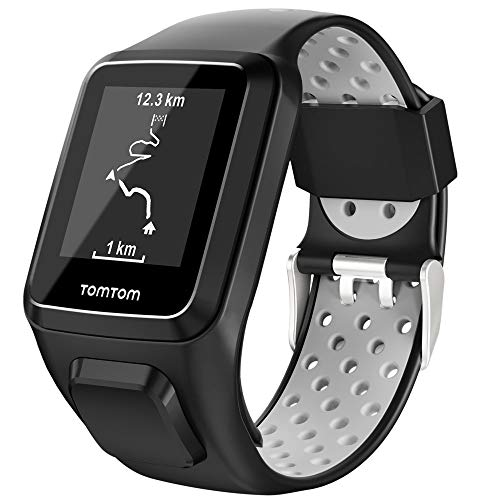 Keweni Compatible con Correa Tomtom, Correa de Reloj de Silicona de Repuesto para Tomtom Adventurer Golfer 2 / Runner 2/3 Spark/Spark 3