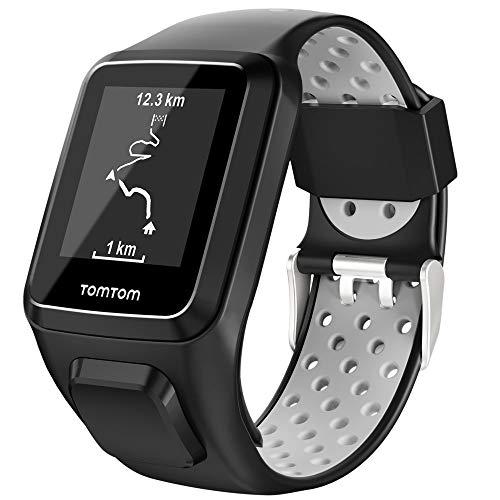 Keweni Compatible con Correa TomTom, Correa de Reloj de Silicona de Repuesto para Tomtom Adventurer Golfer 2 / Runner 2/3 Spark/Spark 3 (Negro gris)