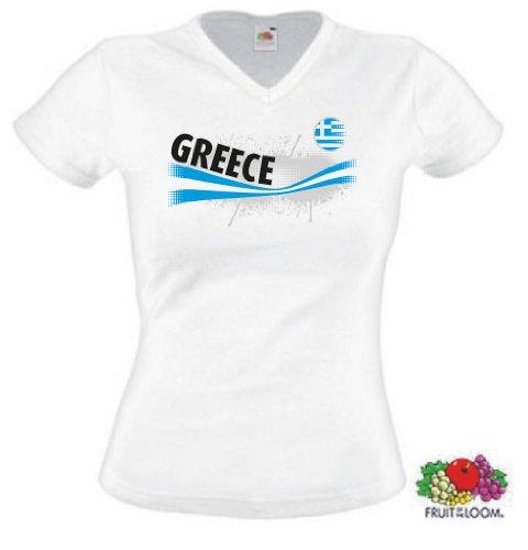 world-of-shirt Greece / Griechenland Damen T-Shirt Vintage Trikot XL