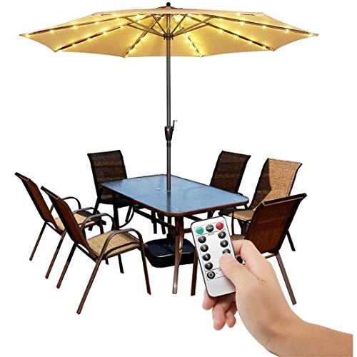 GJNWRQCY Patio Umbrella Lights Cordless Parasol String Lights with Remote Control 8 Mode 104 LED Umbrella Pole Light Waterproof for 9ft-10ft Umbrella Outdoor Lighting
