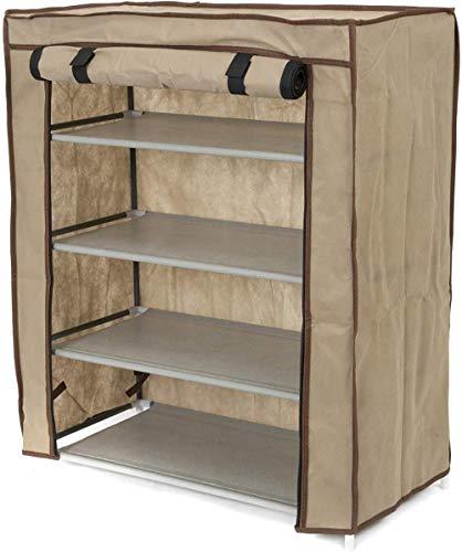 A-Generic Compactador Zapatero 4 estantes con Manga, Color marrón, Hecho de Polipropileno, tamaño, Capacidad para 12 Pares,