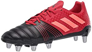 adidas Men's Kakari SG Boots Rugby Shoe, core Black/Signal Coral/Scarlet, 8 M US by adidas