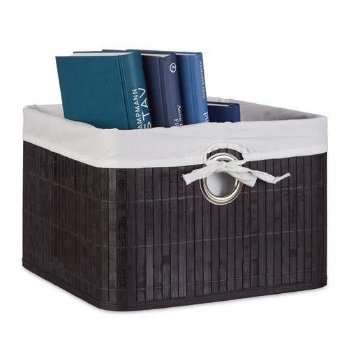 Relaxdays Aufbewahrungskorb, Stoffbezug, Bambus, rechteckig, Bad, Accessoires, Spielzeug, HxBxT: 20x31x31 cm, schwarz