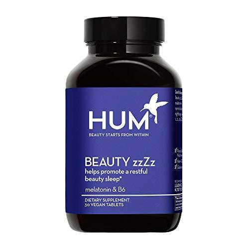 HUM Beauty zzZz Vegan Melatonin - Sleep Supplement to Promote Deep & Restful Sleep - Calcium & Vitamin B6 Blend Sleep Tablet Help Reduce Time It Takes to Fall Alseep - Non-GMO/Gluten Free (30 Tablets)