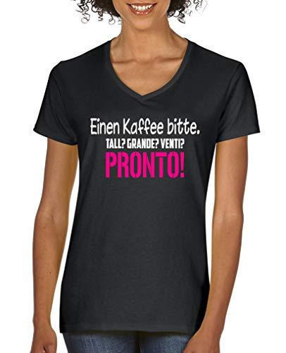 Comedy Shirts - Einen Kaffee Bitte. Tall? Grande? Venti? Pronto! - Damen V-Neck T-Shirt - Schwarz/Weiss-Pink Gr. M