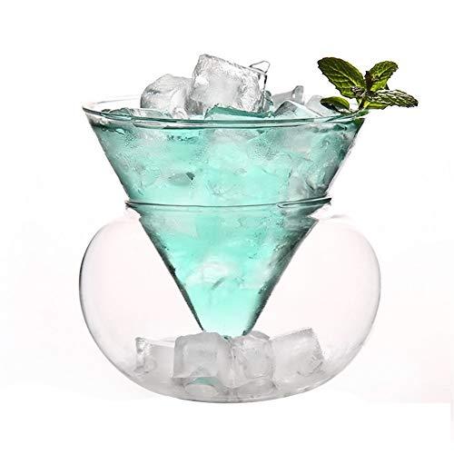 DHDHWL Forma del Estilo Occidental Creativo Camarero Helado Partido de Martini for el Vidrio de cóctel Bar Cono Esfera balón del Conjunto de Mezcla Copas de Vino Z1001 (Color : 220ml)