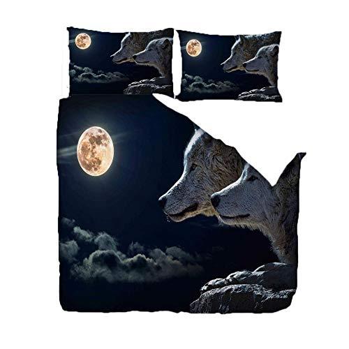 GEGEMEI 3D Printed Bedding Set For Children Werewolf Moon Motif Duvet Quilt Cover Pillowcase Bedding Set Zipper Closure Easy Care 200X200Cm