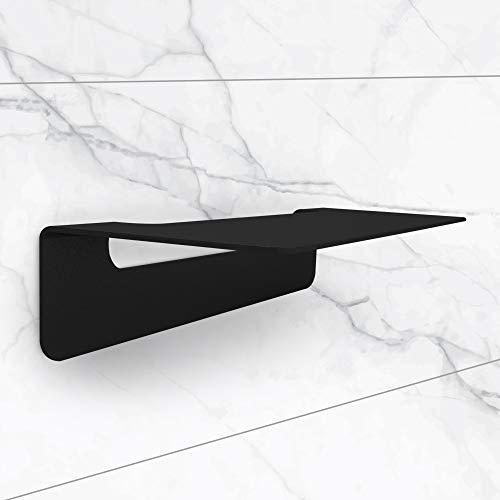 TradeNX - Mensola da Bagno senza Foratura, Ripiano Adesivo Portaoggetti per Accessori da Bagno, Design Moderno, Acciaio Inox, Colore Nero