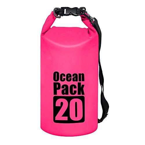 byhui Waterproof Dry Bags, 10L Floating Dry Bag Keeps Gear Dry with Adjustable Shoulder Strap for Kayaking, Beach, Rafting, Boating, Hiking, Camping, Fishing (Pink)