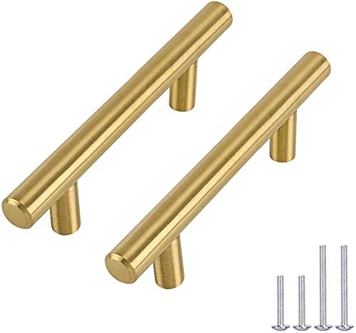 Tirador de puerta para muebles, armarios de cocina o puertas en forma de T de Goldenwarm® de acero inoxidable, color dorado