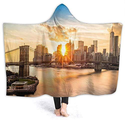 Coperta Brooklyn Bridge And The Lower Manhattan Skyline At Sunset leggera ultra comoda e durevole divano campeggio ufficio 152,4 x 127 cm coperta fuzzy regalo coperta in pile