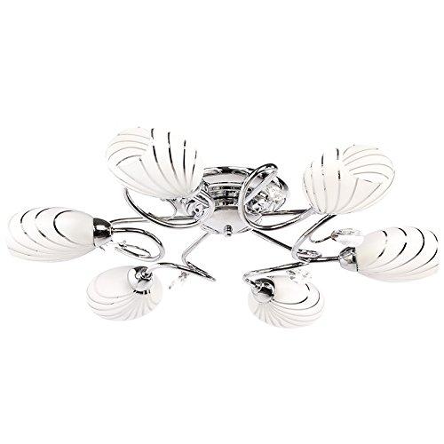 MW-Light 267011806 Elegante Deckenleuchte Modern Chromfarbiges Metall Mattweißes Glas Kristall Klar 6 Flammig Grelles Direktes Licht Wohnzimmer Schlafzimmer Flur Küche 6 x 60W E14