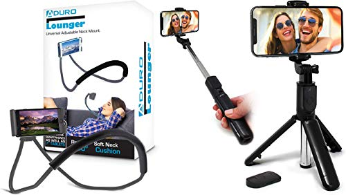 Aduro Phone Neck Holder, Gooseneck Lazy Neck Phone Mount, (Gray) Bundle with U-Stream Selfie Stick Tripod Extendable with Bluetooth Remote, All for iPhone/Android Smartphone