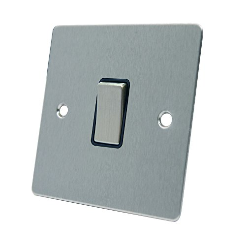 AET FSC1GSWIBS Satin Chrome Flat Black Insert Metal Rocker Switch-10 Amp Single 1-Gang 2 Way Light Switch