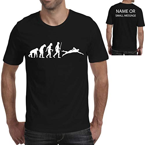 MGEAR Evolution of Swimmer Swimming Pool Funny Men T Shirt T-Shirt Customised Text Printed tee Birthday Present Black