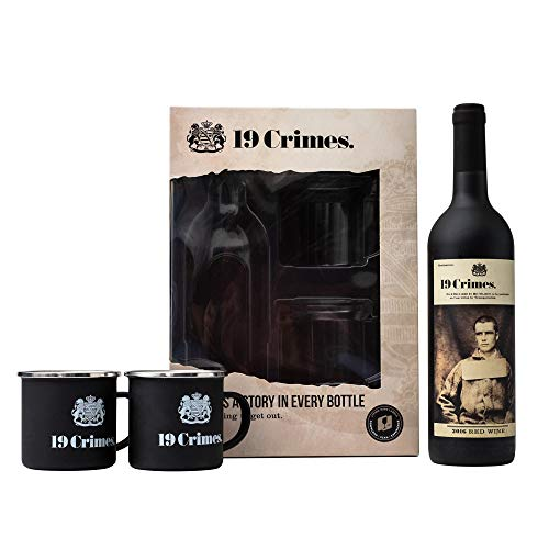 19 Crimes Red Wine Gift Set | 19 Crimes Red Blend Wine Australia 750ml and Offical 19 Crimes Tin Mug x 2 | Perfect Wine Gifts