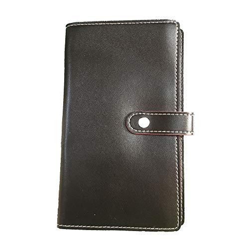 120 Karten Visitenkartenmappe Leder Visitenkartenmappe mit Druckknopfverschluss Für Kreditkarten ID-Karte Bankkarte (Schwarz)