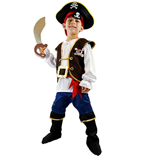 Spooktacular Creations Boys Pirate Costume Kids Fancy Dress Up Role Play Deluxe Costume Set (Toddler)