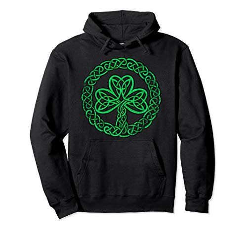 Irish Celtic Knot Shamrock Distressed Clover Hoodie