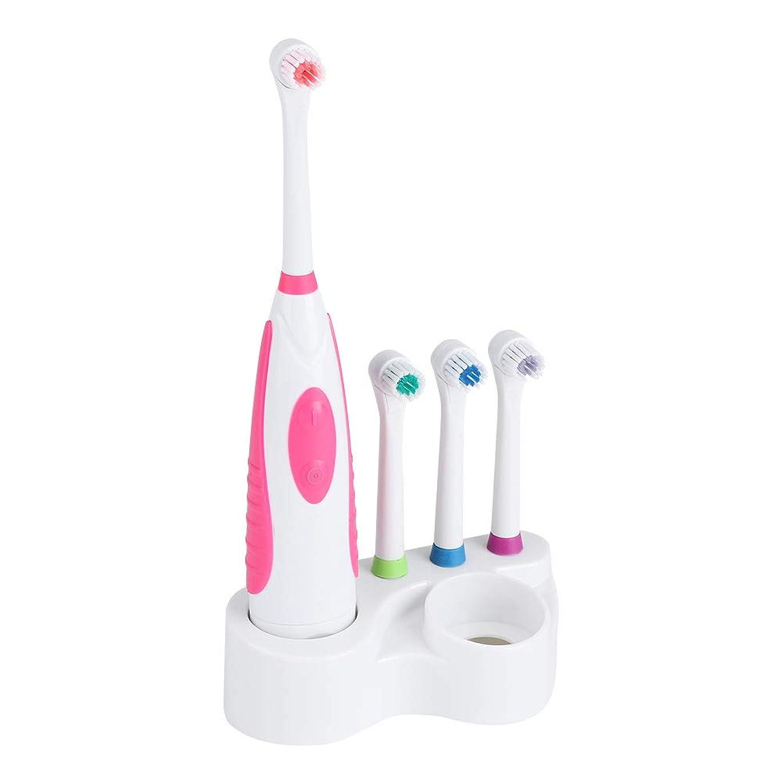 計画的和すぐに電動歯ブラシ3個の交換用ヘッドとホルダー付き電動歯ブラシホワイトニングクレンジングオーラルケア(Red)