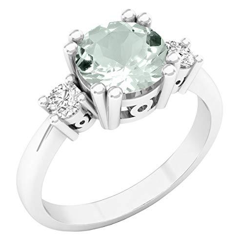 Dazzlingrock Collection 7.5 mm Round Gemstone & White Diamond Ladies 3 Stone Engagement Ring, 14K White Gold