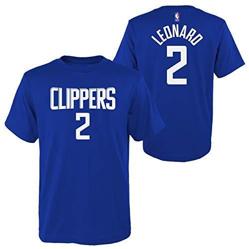 Outerstuff Kawhi Leonard Los Angeles Clippers #2 Youth Player Name & Number T-Shirt Blue (Small 8)